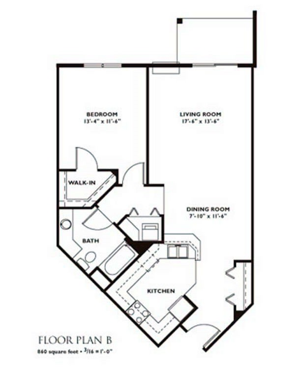 1 Bedroom Floor Plan   Plan B ...