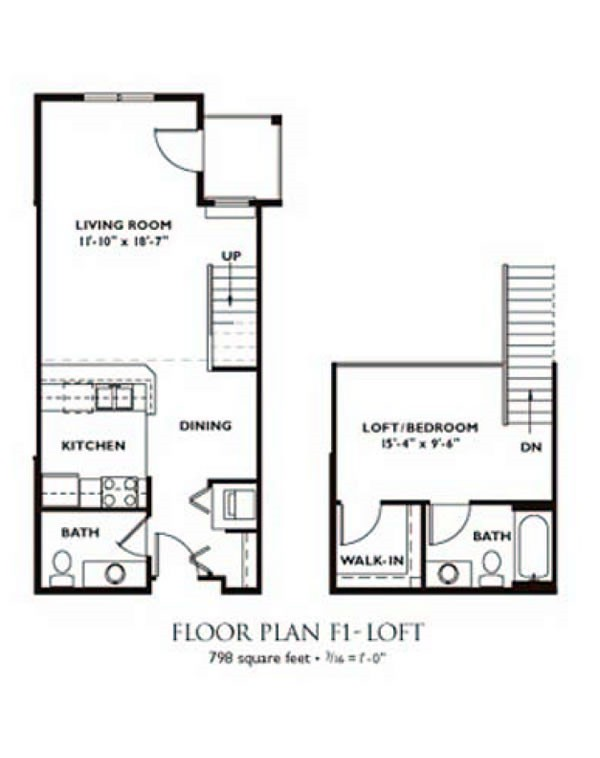 1 Bedroom Floor Plan - Plan F1 ...