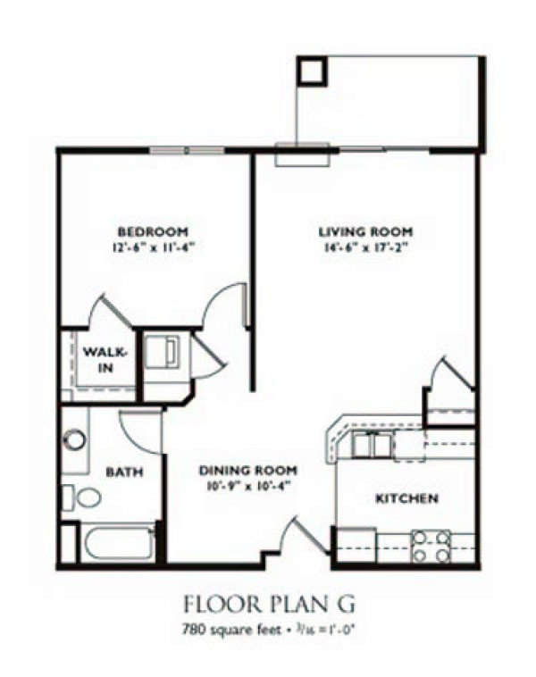 Charmant 1 Bedroom Floor Plan   Plan G ...