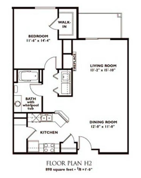 1 Bedroom Floor Plan   Plan H2 ...