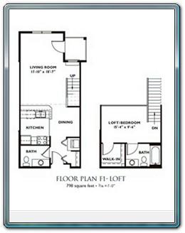 ... 1 Bedroom Floor Plan   Plan F1