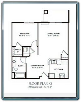 1 Bedroom Floor Plan   Plan G