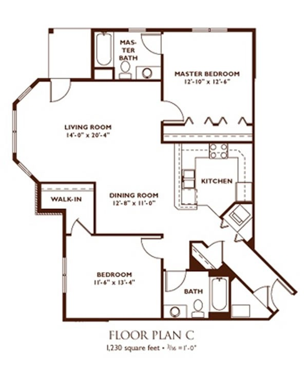 2 Bedroom Floor Plan   Plan C ...