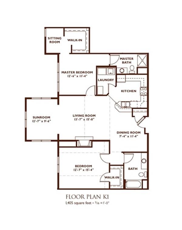 Bedroom Floor Plan Plan K