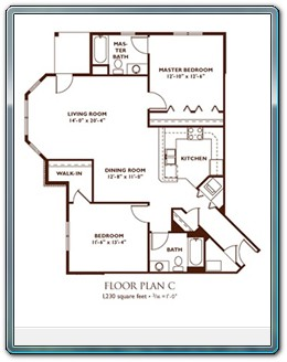 ... 2 Bedroom Floor Plan   Plan C