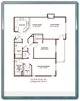 2 Bedroom Floor Plan - Plan D4