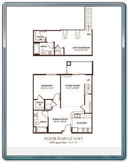 2 Bedroom Floor Plan - Plan G1-Loft