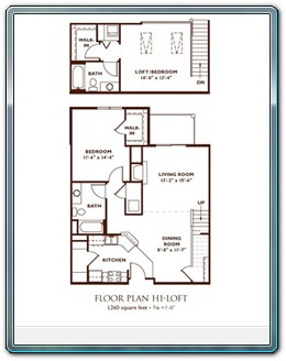2 Bedroom Floor Plan - Plan H1-Loft