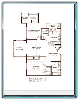 2 Bedroom Floor Plan - Plan K1