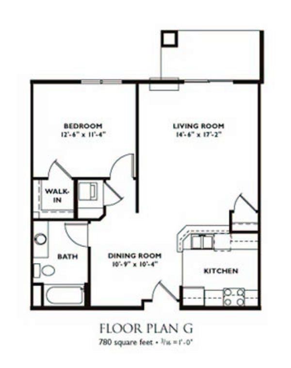 Charming 1 Bedroom   Plan G