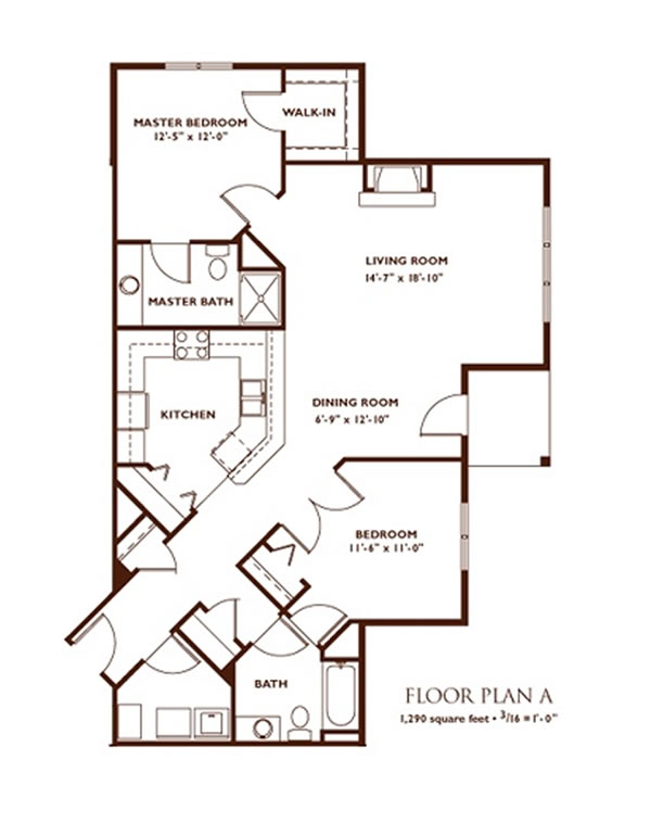 2 bedroom plan a - Apartment Floor Plans 2 Bedroom